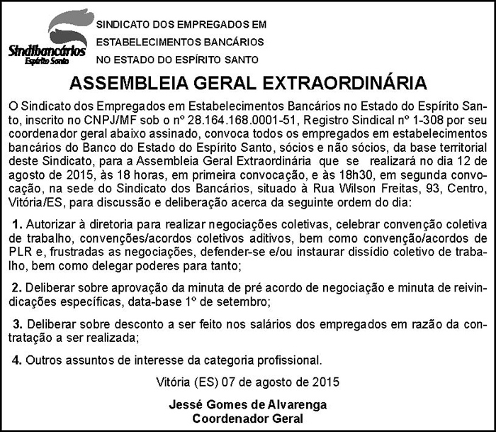 EDITAL ASSEMBLEIA GERAL EXTRAORDINÁRIA - BANESTES - 07-08-2015