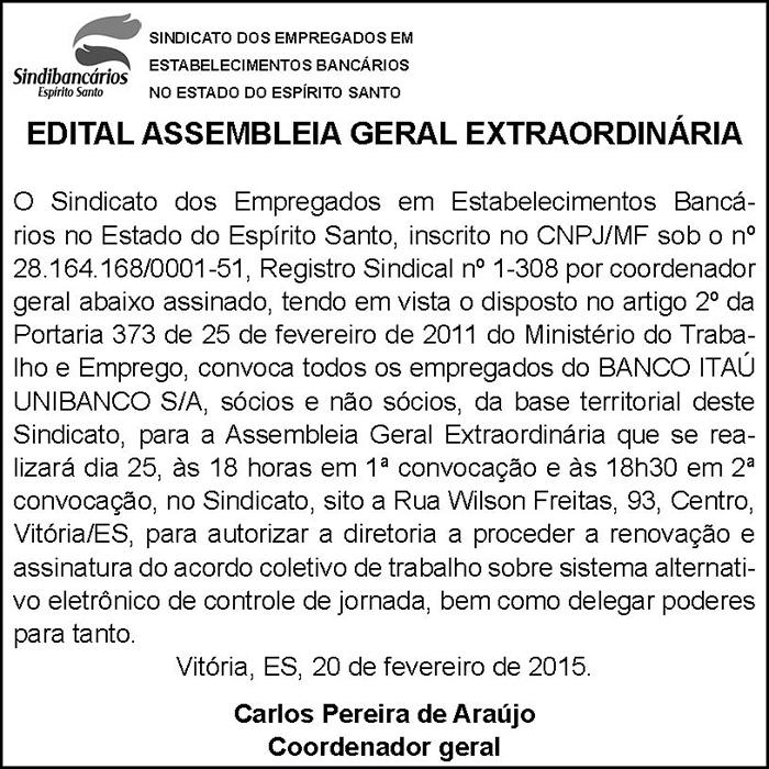 EDITAL ASSEMBLEIA GERAL EXTRAORDINÁRIA - ITÁU-UNIBANCO - 20-02-2015