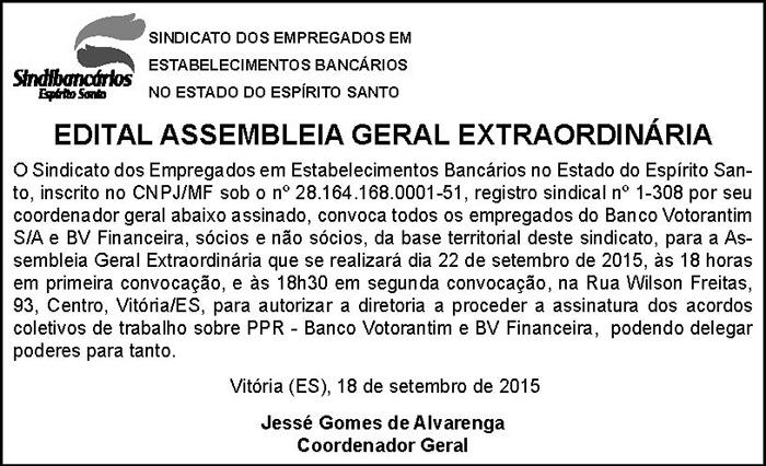 EDITAL BANCO VOTORANTIN - AUTORIZAR ASSINATURA ACORDO COLETIVO - 17-09-2015