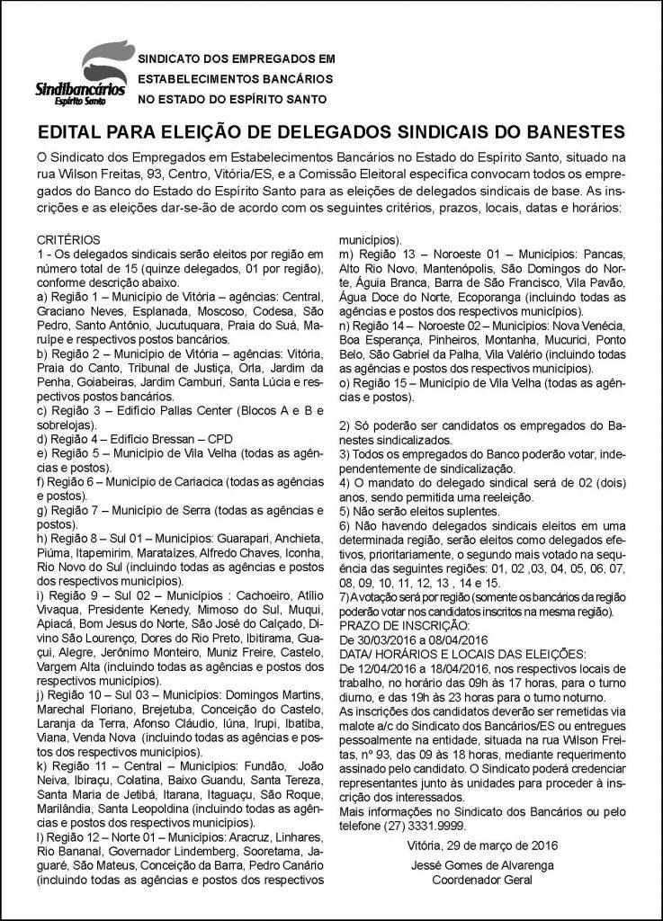 EDITAL - DELEGADOS SINDICAIS BANESTES - 29-03-2015