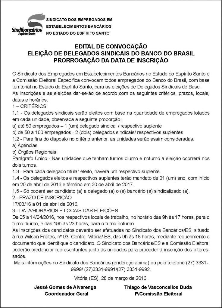 EDITAL - DELEGADOS SINDICAIS BB - PRORRAGAÇÃO INSCRIÇÃO - 29-03-2015