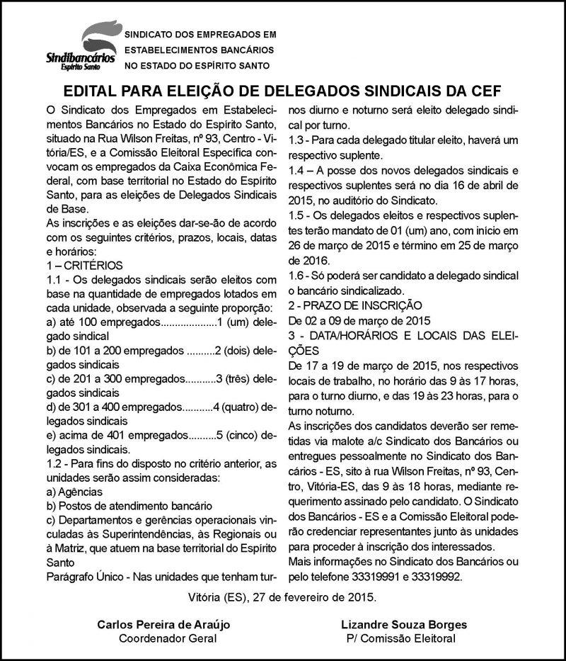 EDITAL DELEGADOS SINDICAIS CAIXA - 27-02-2015