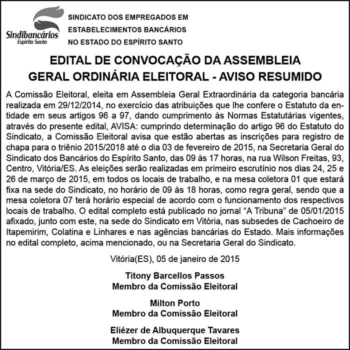 EDITAL RESUMIDO - ASSEMB.ORDINÁRIA . ELEIÇÃO - 05-01-2015 - 3 x 11,5