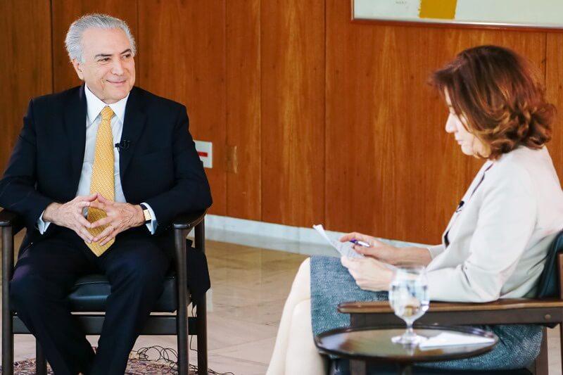 Presidente Michel Temer durante entrevista para Miriam Leitão da Globo News. Foto: Marcos Corrêa/PR